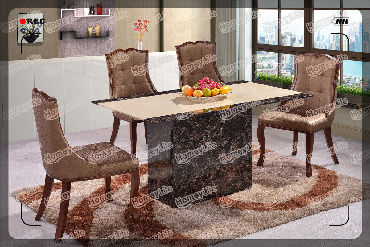 Black And Brown Rectangular Square Marble Dining Table HT08#