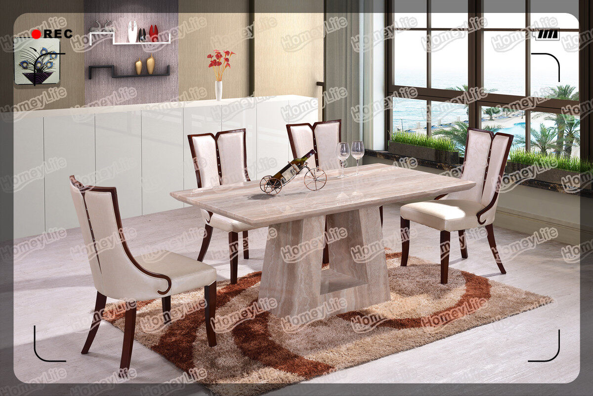 Fixed Top Rectangular Square Marble Dining Table HT01#