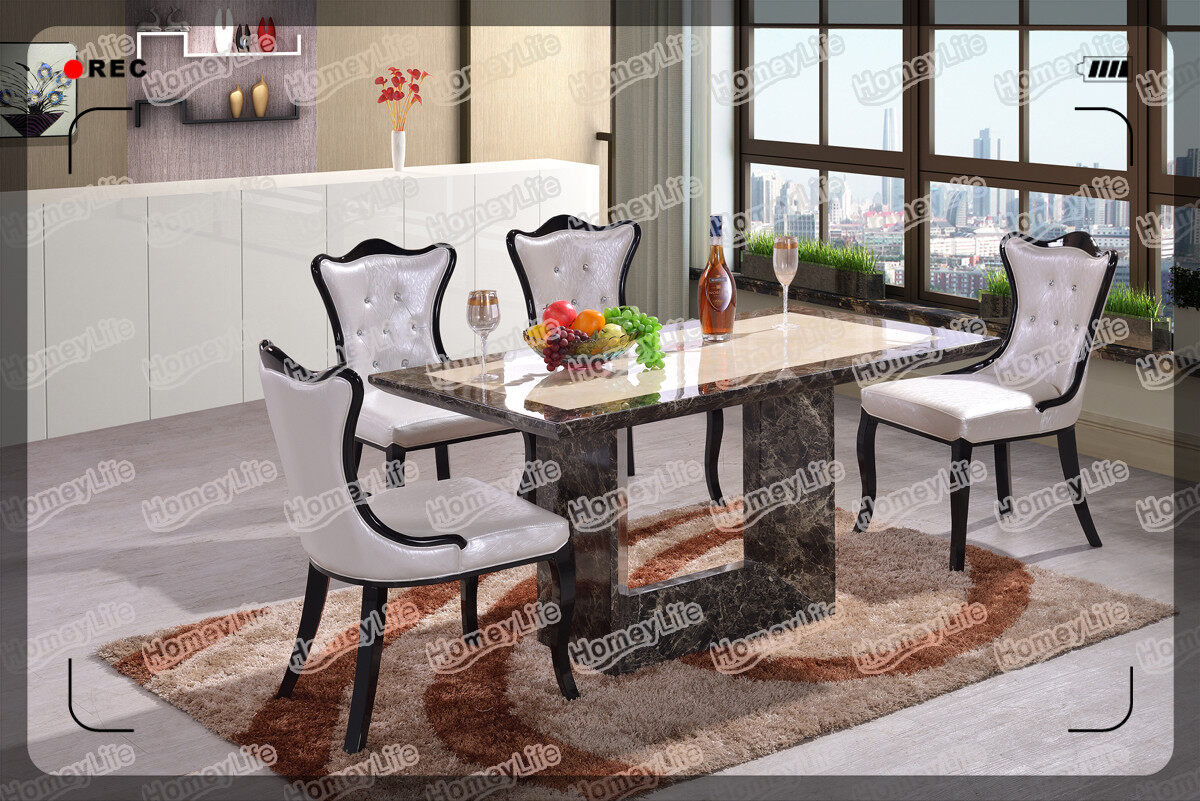 U Shape Leg 6 Seater Marble Dining Table HT07#