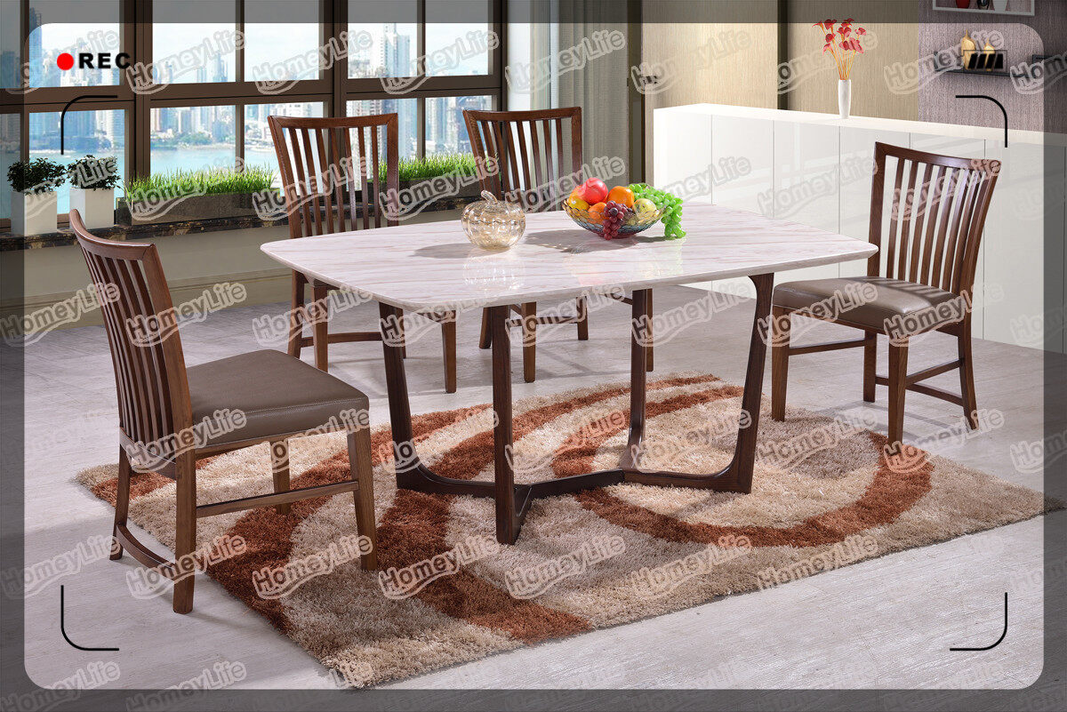 Popular Design Wood Leg  6 Seater Marble Dining Table Set HT09#