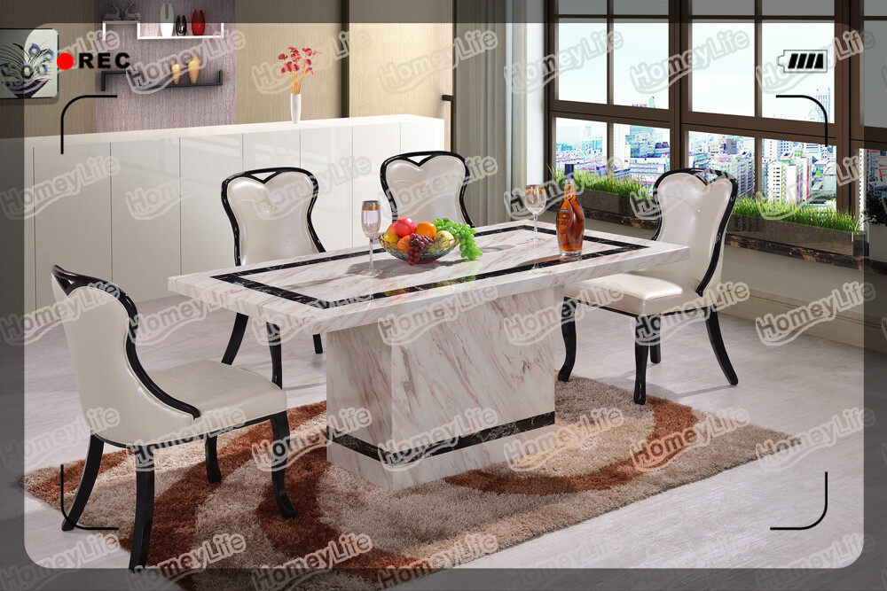 Rectangular Design 6 Seater Marble Dining Table HT04#
