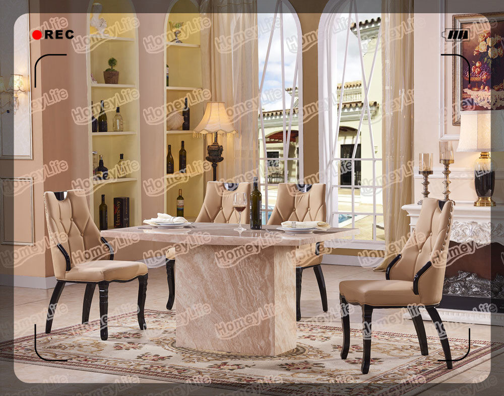 Rectangular Top 6 Seater Marble Dining Table Set HT50#