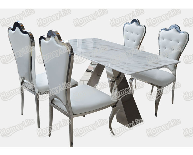 Glossy Stainless Steel Leg With Rectangular Square Marble Dining Table HT23#