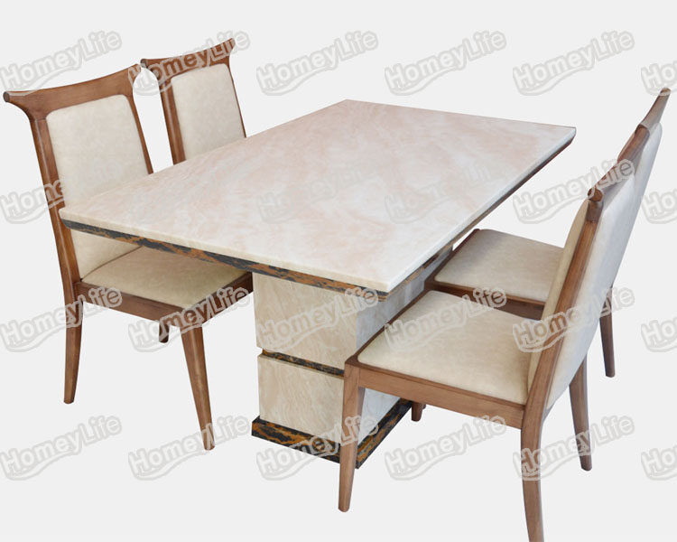 Modern Rectangular Square Marble Dining Table With Wood Dining Chair