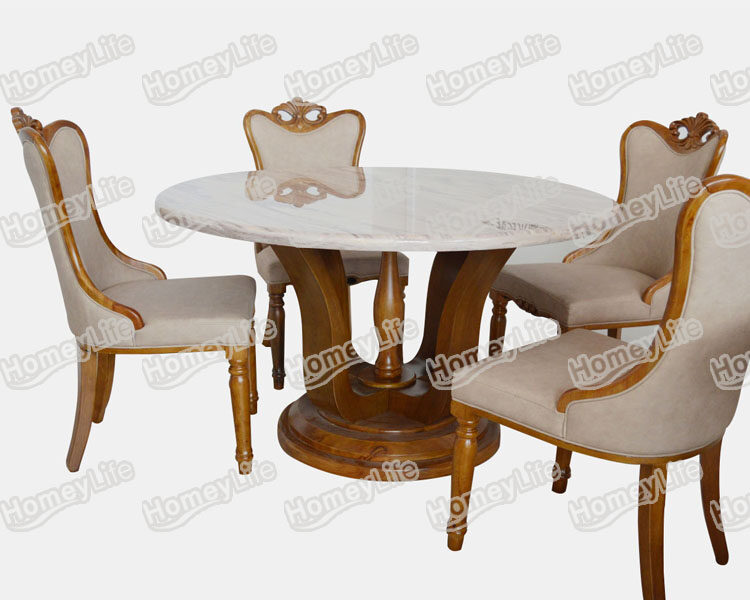 Wood Base Round 4 Seater Marble Dining Table HT16#