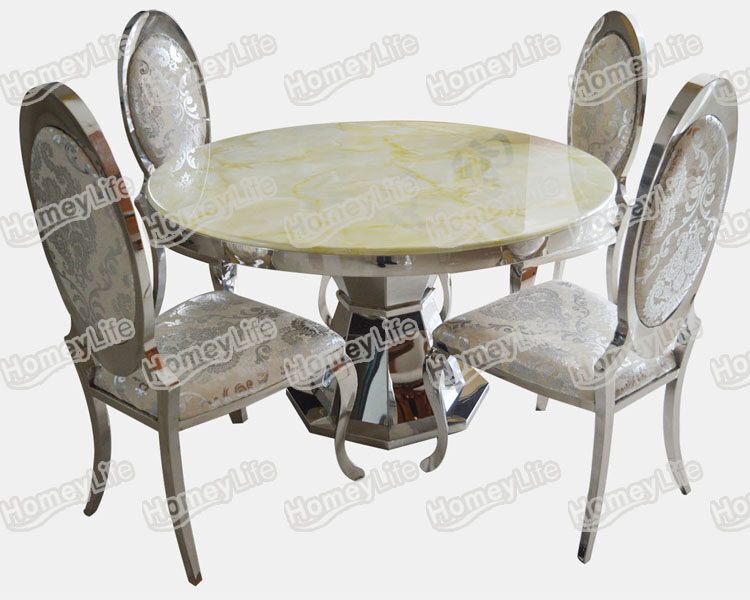 Homeylife Furniture Stainless Steel Base Marble Top Round Dining Table HT818#