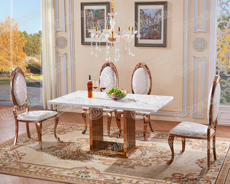 Modern Luxury Stainless Steel Base Rectangular Square Marble Dining Table Ht22