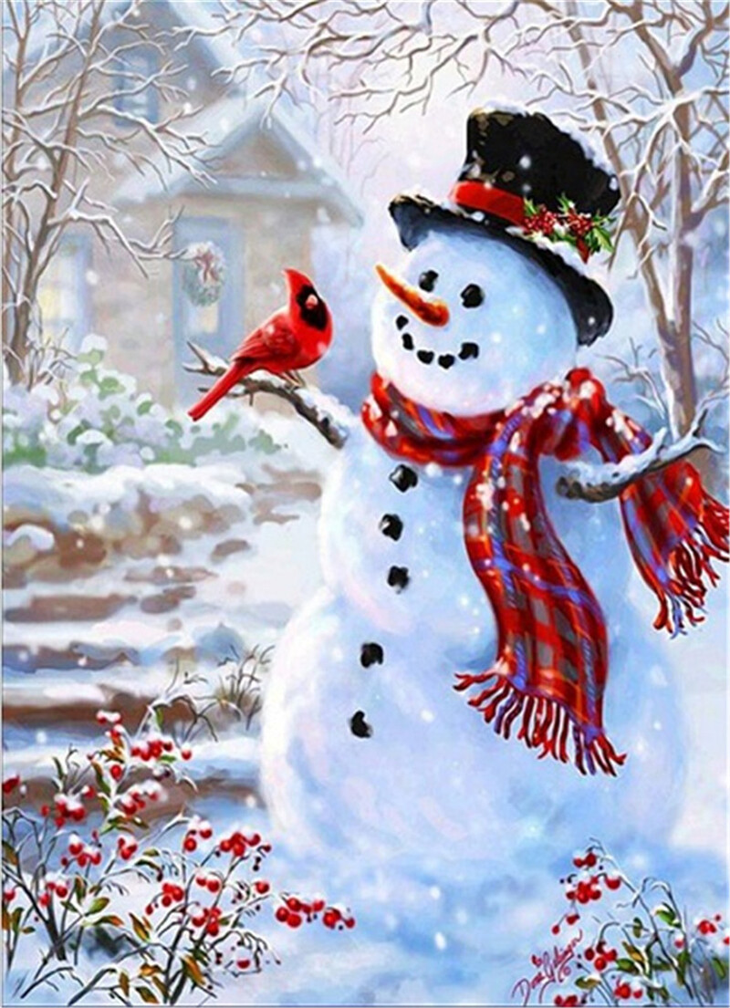 Paint By Numbers Kits Christmas Snowman And Bird 16x20