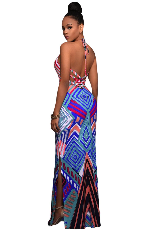 Women Geometric Pattern Boho Maxi Dress - Bright - Msdada.com