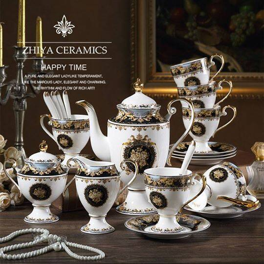 European Palace style bone china coffee set luxury afternoon tea set elegant tea cup set
