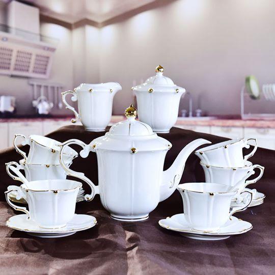 European bone china coffee cup pot dish set teapot and tea gift set with gift box