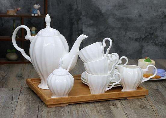 Simple dark bone china coffee cup pot dish set ceramic tableware - Cheap teacup sets for sale