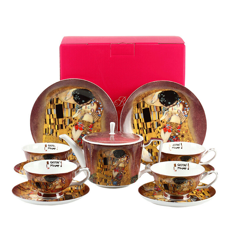 English afternoon tea set Creative oil painting Retro coffee cup European coffee set - Vintage cup & saucer sets