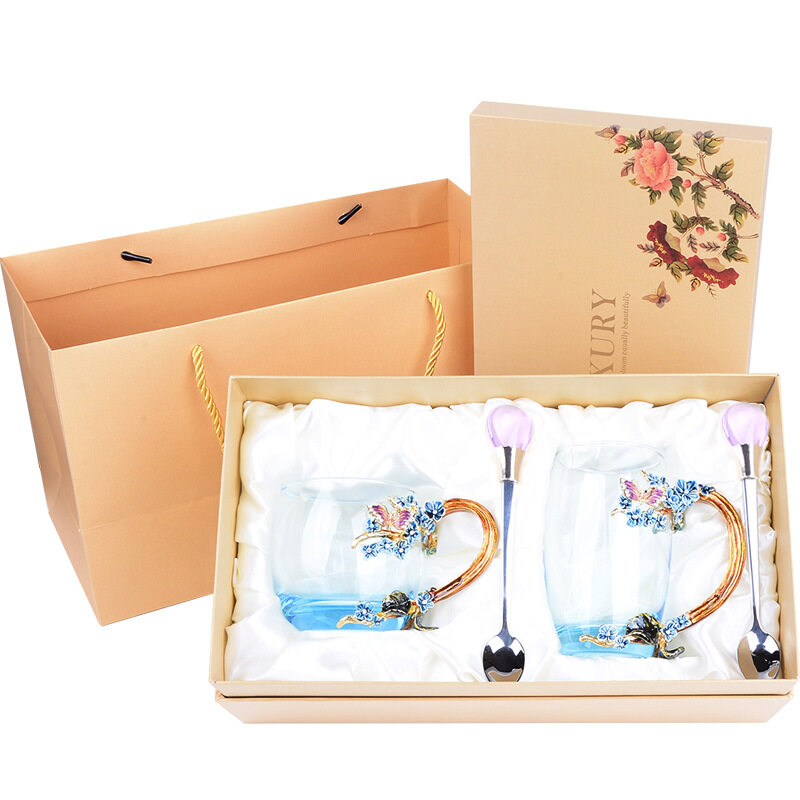 Creative enamel couple water cup set home crystal cup gift - gifts for people that like tea