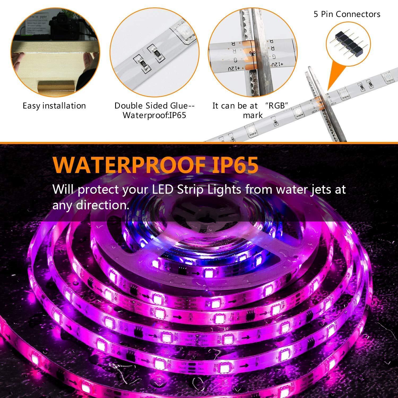 LED Strip Lights,WiFi Wireless Smart Phone App Controlled Light Strip Kit 16.4ft LED Lights ...