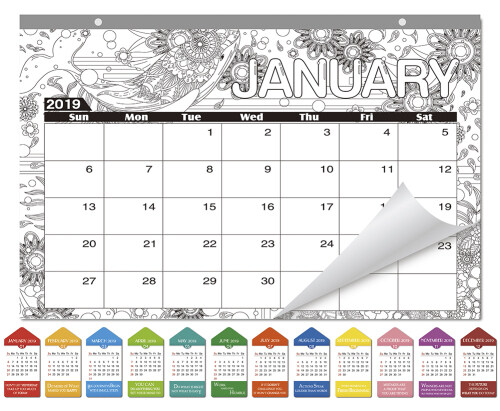sicohome coloring desk pad calendaranimals16x11january december