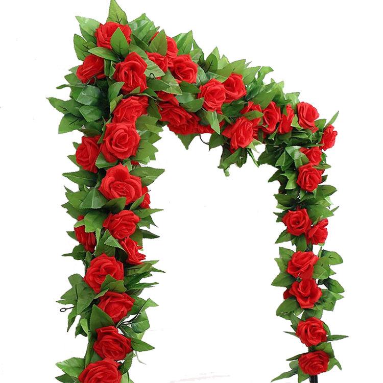 Silk Rose Artificial Flower Vine 9 Big Roses 240cm Length Home Decoration  Plant