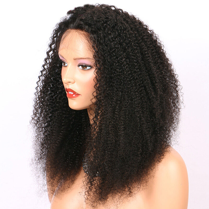 Afro Kinky Curly Wigs 360 Lace Frontal Wigs Pre Plucked With Baby Hair
