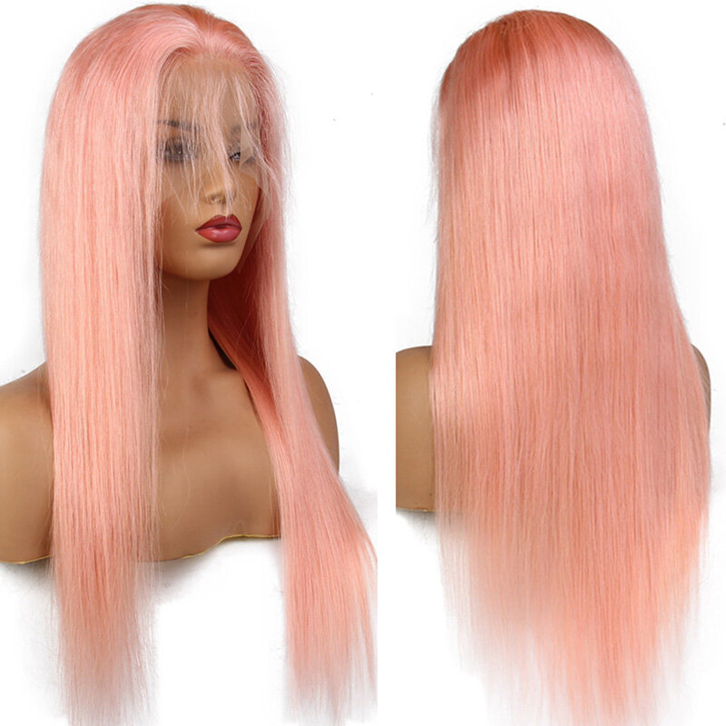 Pink Lace Front Glueless Wigs Swiss Lace Human Hair