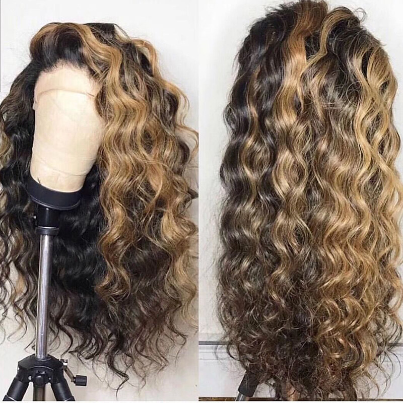 Lace Front Human Hair Wigs Brazilian Remy Hair Mixed Colour 1b/4/27 Curly Wig