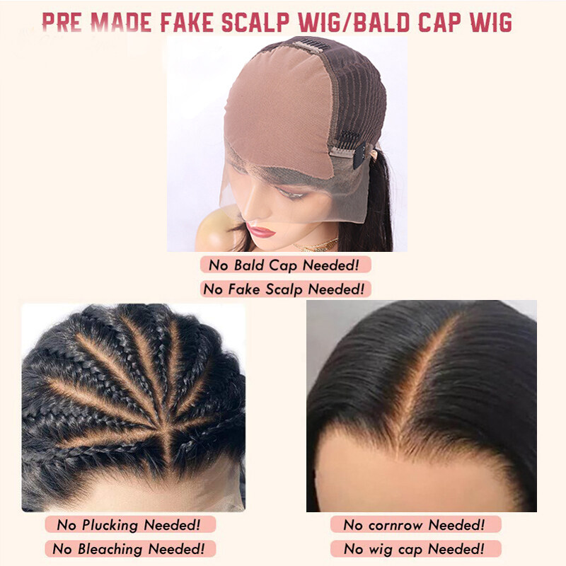 Straight Fake Scalp Premier Lace Wigs 13X6 Lace Front Wig Invisible Remy Pre Plucked