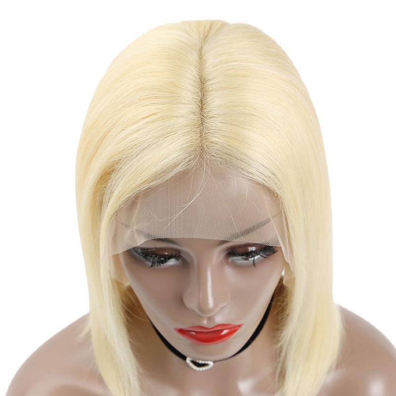 13X6 613 Blonde Short Bob Premier Lace Wigs Straight Brazilian Human Hair