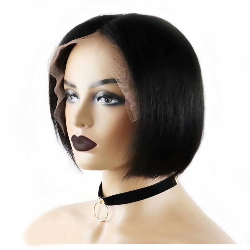 10inch Lace Front Human Hair Wigs Pre Plucked Brazilian Remy Short Bob Wigs free shipping