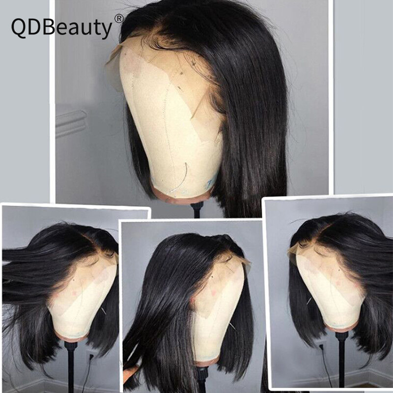 QDBeauty Hair 13x6 Lace Front Human Hair Wigs Straight Frontal Wig Virgin Bob Short Wigs