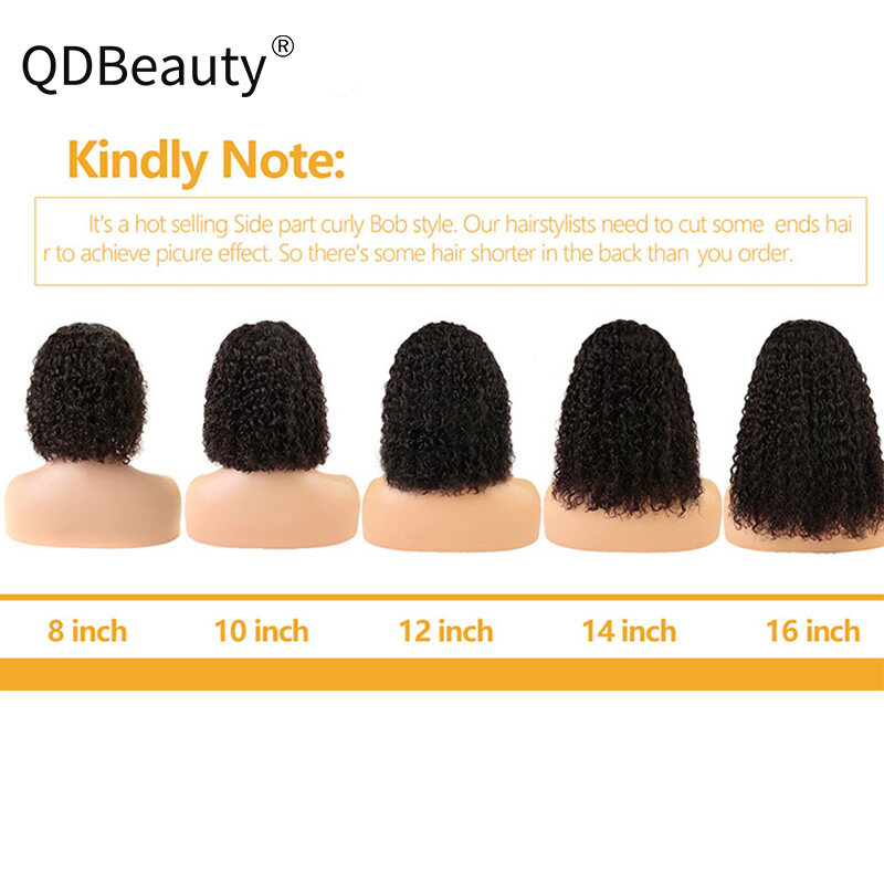 QDBeauty Short 13x6 Lace Front Human Hair Wigs Pre Plucked With Baby Hair Curly