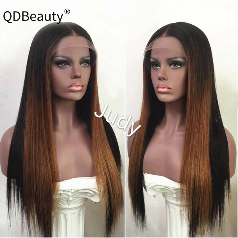 QDBeauty Hair Ombre Color 1b/27 Lace Front Human Hair Wigs with Baby Hair Pre-Plucked