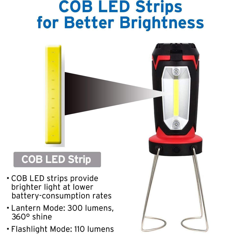 Super Bright 8 Led Work Light Torch Car Garage Flashlight: Camping Lantern Rechargeable Flashlight And LED COB Work Light