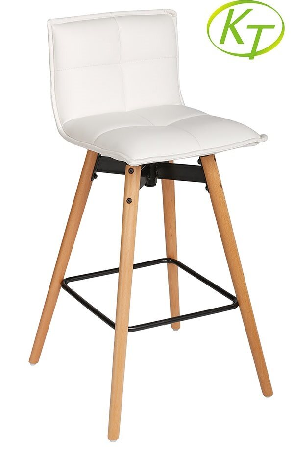 Upholstered Bar Stools With Backs White PU Seat KT-BS3121
