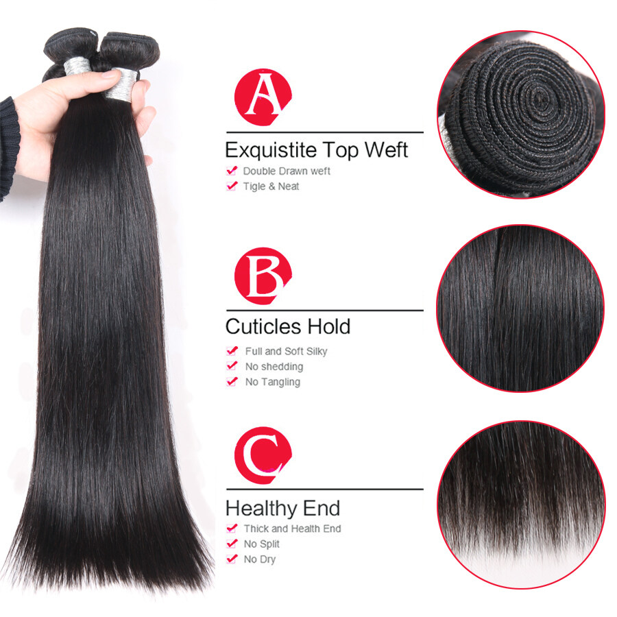 Brazilian Virgin Hair Straight 3 Bundles Natural Color Best Seller