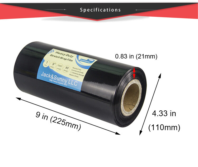 9inch X1000 Ft Black Wrap Film