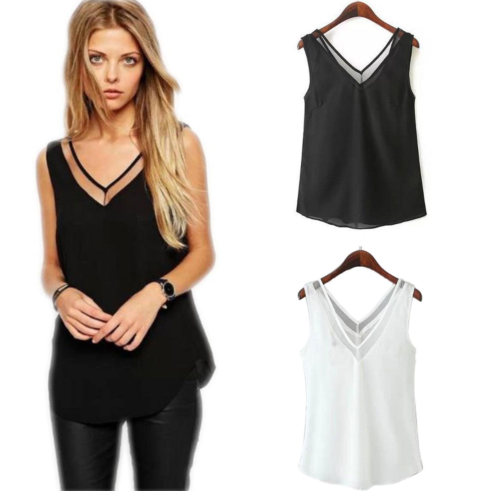 women lady chiffon v neck summer top tank blouse sleeveless