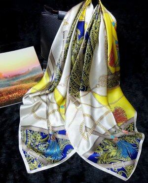 Fashion Retro Ladies Silk Scarf 90*90 cm Large Square Scarf