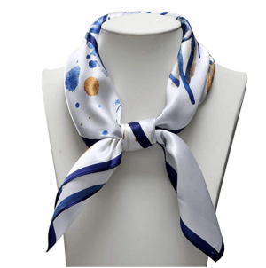 100% Pure Silk Delicate Scarf Neckerchief Small Square Print Scarves Women