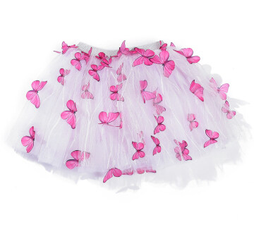 Hot Sale Baby Girl Pure Colour Butterfly Collage Tutu Skirt Toddler Fluffy Stereoscopic Decoration Tulle Skirt
