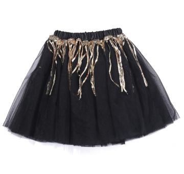 New Design Little Girl Black Tutu Skirt Children Kids Gold Girdle Pleated Tulle Skirt Ballet Dance Skirt