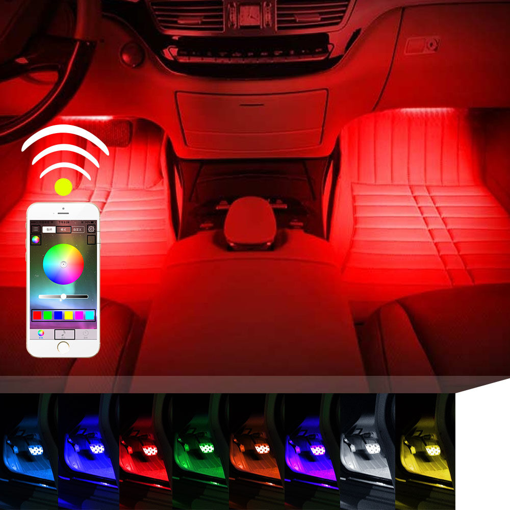 Car led strip lights 4pcs 72 led rgb music app bluetooth controller guangzhou huiyun science technology coltdwas founded in 2002 the company is focusing on the design self research and develop and marketing mozeypictures Images