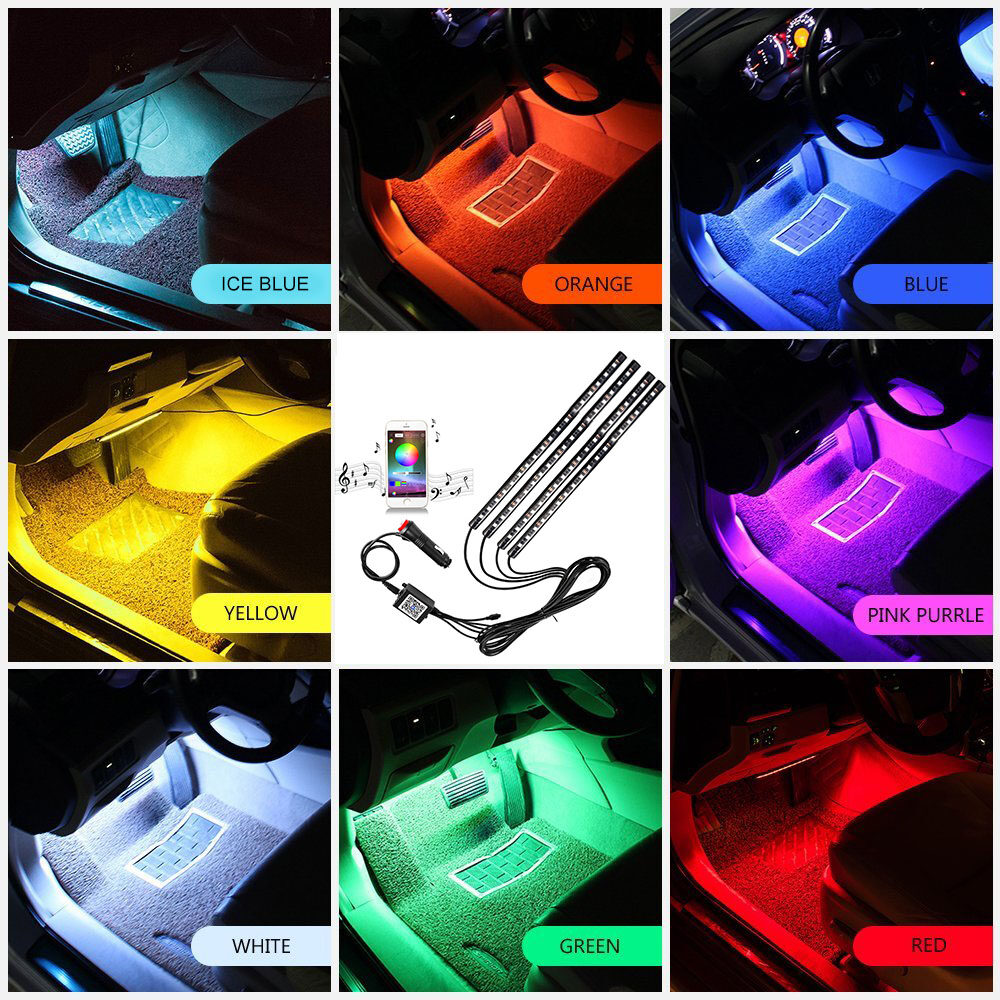 Car led strip lights 4pcs 72 led rgb music app bluetooth controller car led strip lights 4pcs 72 led rgb music app bluetooth controller interior waterproof under dash lights kit for any phone aloadofball Images