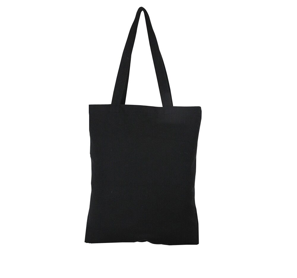Lg0085 Plain Black Cotton Canvas Tote Bag