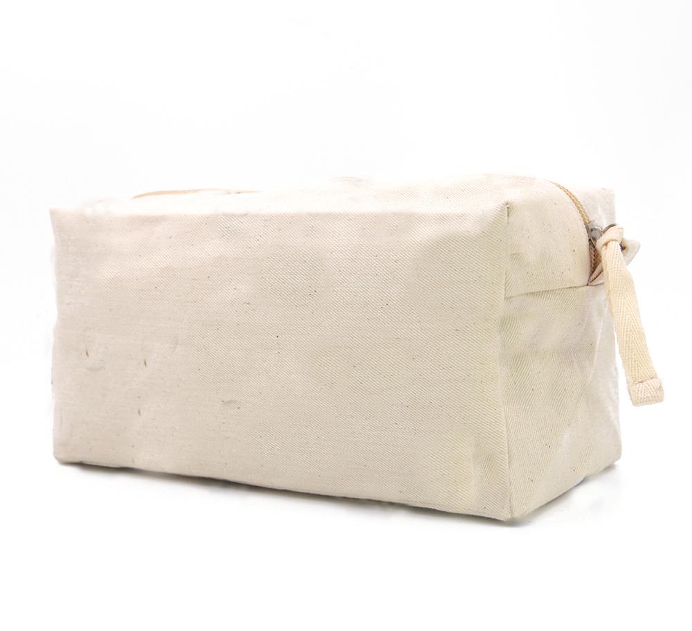 Lg0111 Plain Large Capacity Nature Cotton Canvas Travel Toiletry Bag