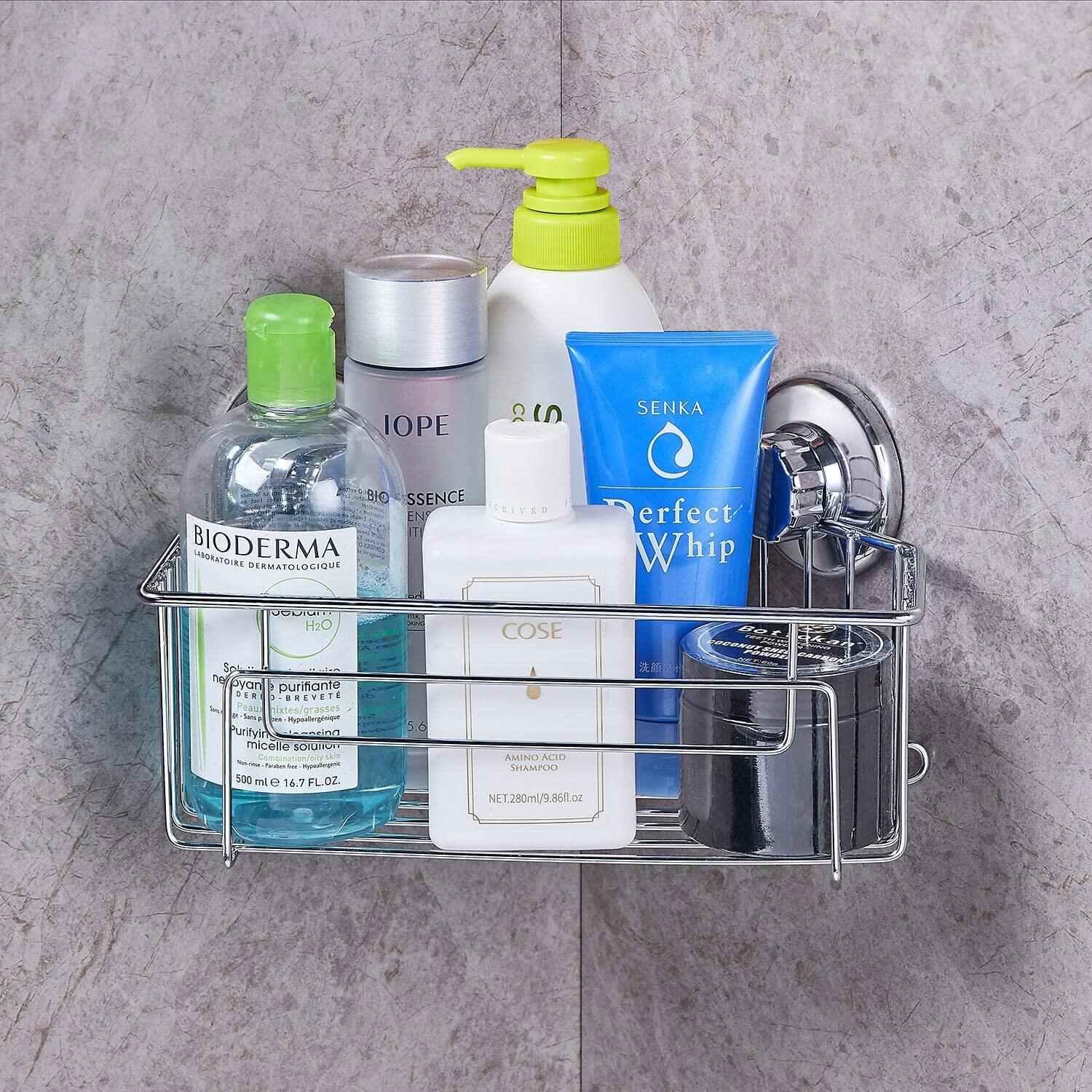JS Shower Basket, Shower Caddy Corner Stainless Steel Shower Baskets Storage for Bathroom & Kitchen,Adhesive No Drilling JS Shower Basket, Stainless Steel Shower Basket at smart-join.com Shower Basket