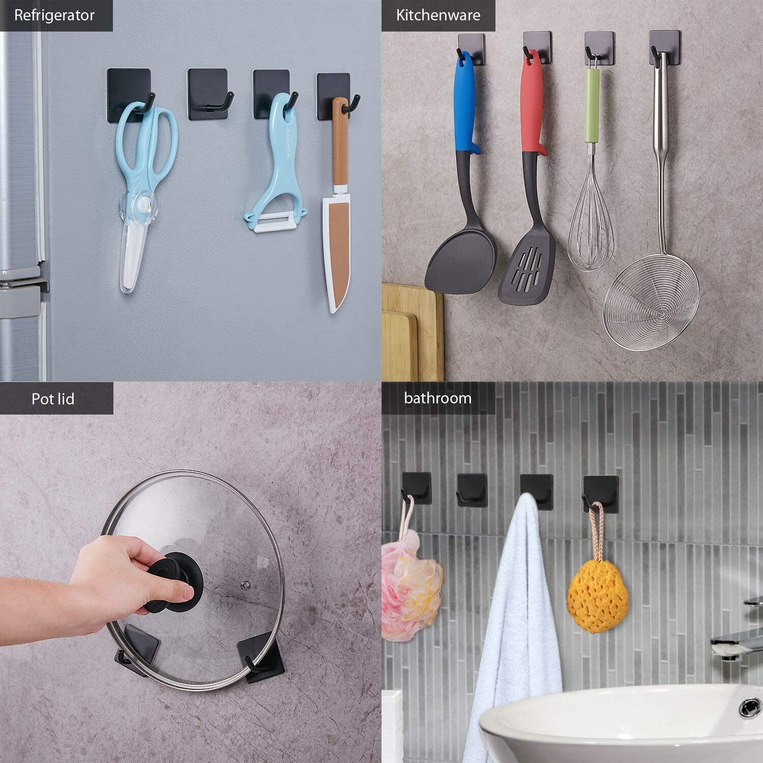 JS Self Adhesive Hooks, 4 Pack, Stick on Wall Hooks Heavy Duty Waterproof Coat Key Towel Hooks Holder for Bathrooms,Kitchen,Lavatory Closet,Door,Stainless Steel Hooks, Black JS Self Adhesive Towel Hooks, Bathroom Stainless Steel Towel Hooks at smart-join.com Towel Hooks