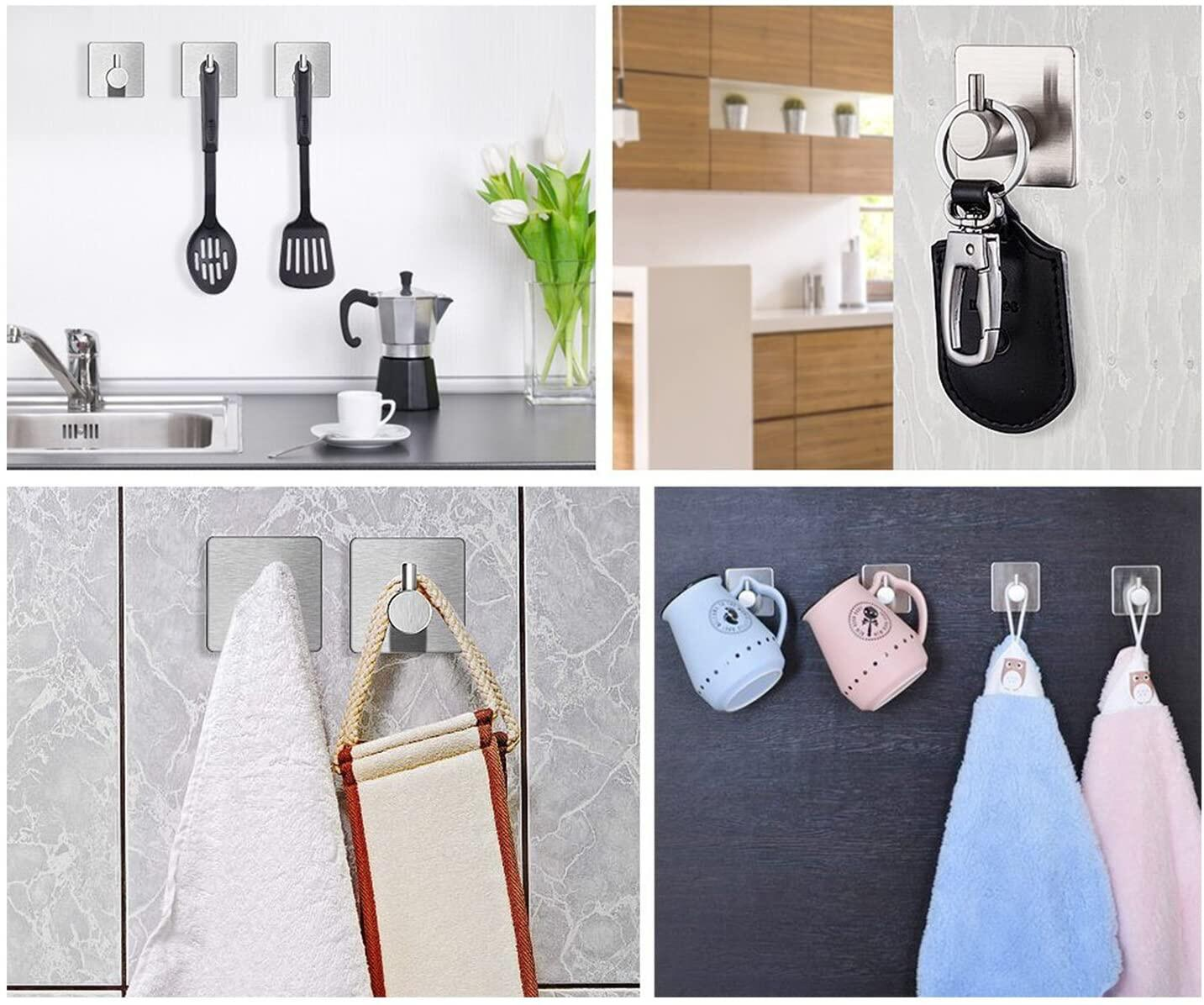 JS Self Adhesive Hooks, Kitchen/Bathrooms/Closet, Stick on Hooks Holder for Tea Towel Robe Coat, Stainless Steel Self Adhesive Towel Hooks,Waterproof and Rustproof, 4 Pack JS Self Adhesive Towel Hooks, Stainless Steel Self Adhesive Towel Hooks at smart-join.com Self Adhesive Towel Hooks