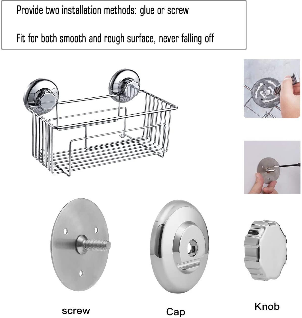 JS Shower Basket, Stainless Steel Bathroom Shower Basket, Bath Storage Organizer Shelves Basket for Kitchen and Bathroom Accessories,Self-Adhesive with Glue or Wall Mount with Screw JS Shower Basket, Stainless Steel Basket at smart-join.com Shower Basket