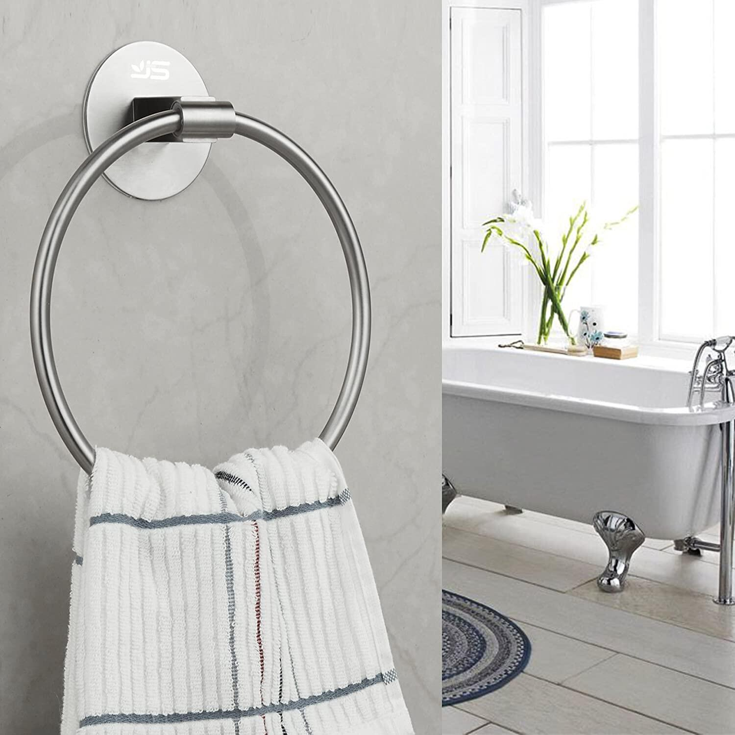 【NEW】Self Adhesive Towel Holder,Stainless Steel Bathroom Towel Ring 7.08 inches/18cm,Wall Mounted 3M Self Adhesive Hand Towel Rails for Kitchen Bathrooms JS Towel Ring, Self Adhesive Towel Ring at smart-join.com Towel Ring