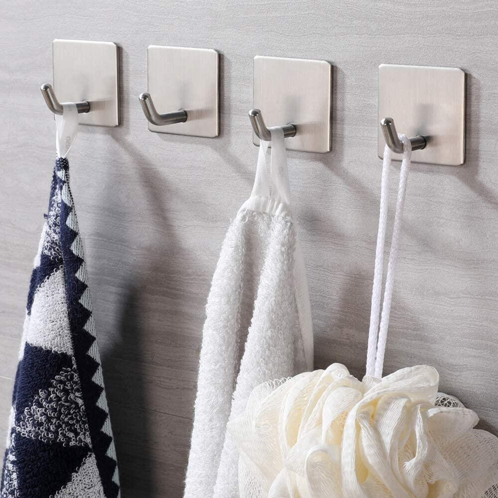 JS Self Adhesive Hooks, Stick on Hooks Holder for Tea Towel Robe Coat Kitchen Bathrooms,Stainless Steel Sticky Wall Hooks,Waterproof and Rustproof, 4 Pack JS Self Adhesive Towel Hooks, Bathroom Stainless Steel Towel Hooks at smart-join.com Self Adhesive Towel Hooks