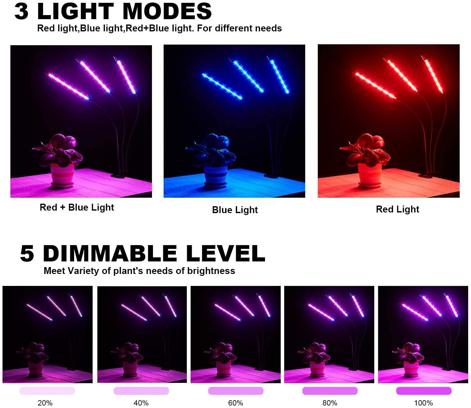 LED Grow Light, 30W, Auto Power On/Off Function, 60 LED Full Spectrum Grow Plant Lamp with 3 Timer Function, 3 Mode, 4 Brightness, with USB Adapter for Garden Indoor PlantsJS LED Grow Light, LED Plant Grow Light at smart-join.comled grow light